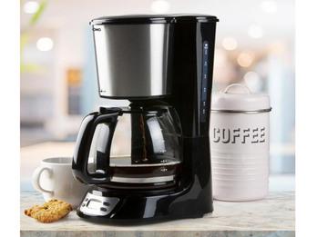 Edelstahl Kaffeemaschine für 12 Tassen - mit Glaskanne & Timer