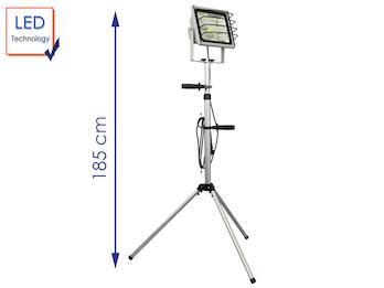 LED Fluter 50W mit Stativ / Arbeitsleuchte, 3000 Lm, IP65, alusilber