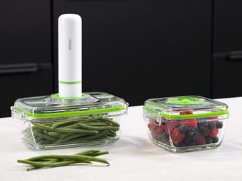Vakuumierer mit 2 Glasbehältern für Lebensmittel & Flüssigkeiten