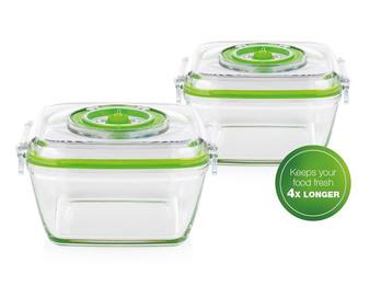 2x Lebensmittel Glasbehälter 0,7 Liter für Vakuumierer 492985