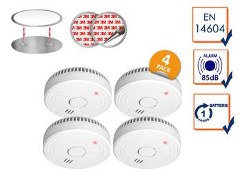 4er Set optische Rauchmelder DIN 14604 mit Magnethalter