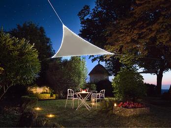 Solar Sonnensegel mit 107 LEDs Dreieck Taupe 3,6m - Terrassensegel für Balkon