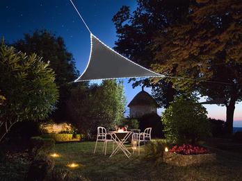 Solar Sonnensegel mit 107 LEDs Dreieck Anthrazit 3,6m, Terrassensegel für Balkon