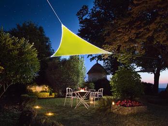 Solar Sonnensegel 107 LEDs Dreieck Limonengrün 3,6m, Terrassensegel für Balkon