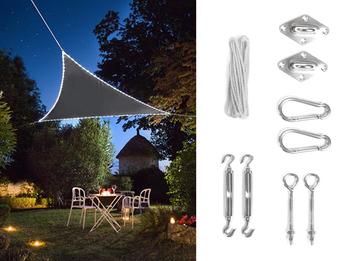 Solar Sonnensegel mit 107 LEDs Dreieck Anthrazit 3,6m, Terrassensegel & Ösenset