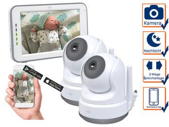 Babyphone mit Kameras für 2 Kinder - Monitor und Handy App