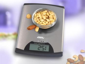 Schlanke Edelstahl-Küchenwaage, 1g bis 5 kg, mit Tara-Funktion