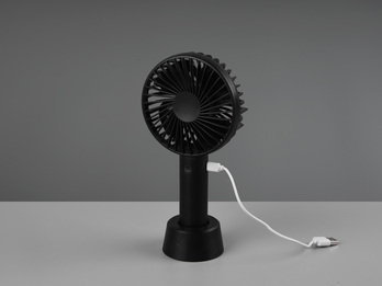 Mini Schreibtisch Ventilator in Schwarz Akku, USB Anschluß 3 Stufen Höhe 21cm