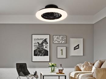 Dimmbarer LED Deckenventilator STRALSUND Ø50cm Schwarz Fernbedienung  Nachtlicht