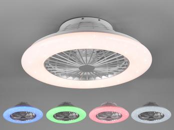 Dimmbarer LED Deckenventilator STRALSUND Ø50cm Silber Farbwechsel Fernbedienung