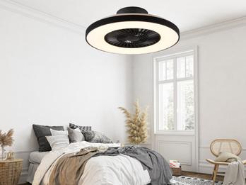 Dimmbarer LED Deckenventilator HALMSTAD schwarz Ø59cm Fernbedienung, Nachtlicht