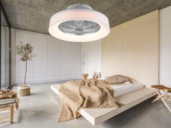 Dimmbarer LED Deckenventilator FARSUND Stoffschirm weiß Ø47cm Fernbedienung