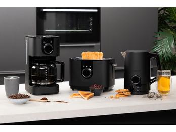 Design Edelstahl Frühstücksset in Schwarz Kaffeemaschine, Wasserkocher & Toaster