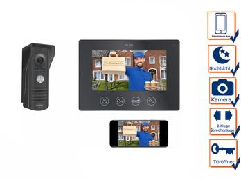 1 Familienhaus Türklingel mit Monitor - Video Türsprechanlage, Schwarz