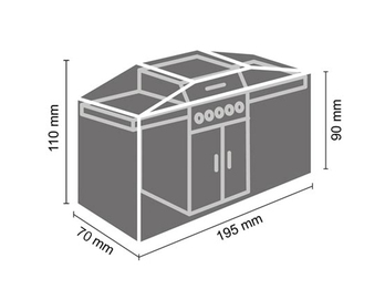 Schutzhülle Gartengrill universal Grill Abdeckhaube 195x70x110cm