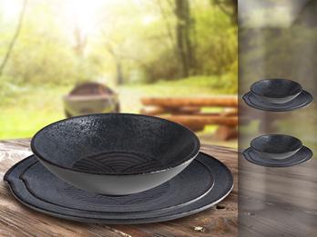 Campinggeschirr, Melamin Ess-Geschirr Set für 2 Personen, schwarz mit Dekor