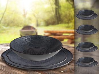 Campinggeschirr, Melamin Ess-Geschirr Set für 4 Personen, schwarz mit Dekor