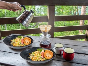 Campinggeschirr, Melamin Geschirr 2-er Set Suppen-Teller, schwarz mit Dekor