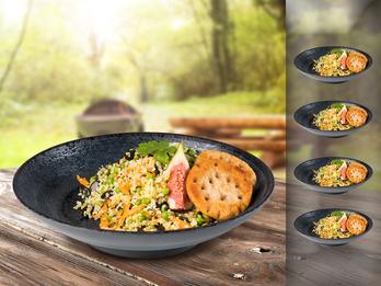 Campinggeschirr, Melamin Geschirr 4-er Set Suppen-Teller, schwarz mit Dekor