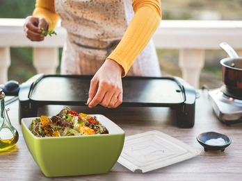 Campinggeschirr, Melamin Geschirr große Schüssel mit Hart-Deckel, Grün/Weiß
