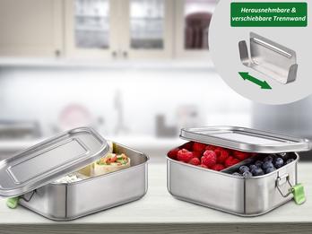 2-er Set Edelstahl Lunchboxen auslaufsicher 18,5 x 13,5 cm, 0,8 Liter