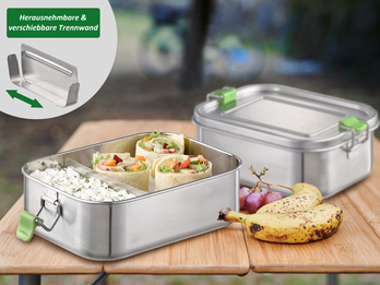 2-er Set Edelstahl Lunchboxen auslaufsicher 20,5 x 14,5 cm, 1,1 Liter