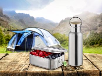 Pausen Set Lunchbox 0,8 Ltr. & Trinkflasche 500ml aus Edelstahl, auslaufsicher