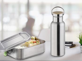 Pausen Set Lunchbox 1,1 Ltr. & Trinkflasche 750ml aus Edelstahl, auslaufsicher