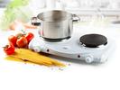 Doppelkochplatte 1500/1000W, regulierbares Thermostat, weiß emailliert