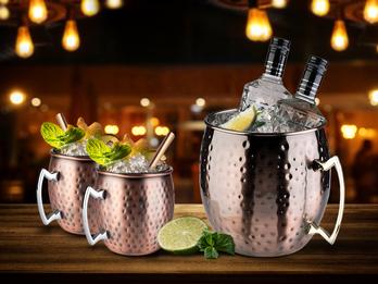 Cocktail-Set MOSCOW MULE Getränkekühler und 2x Becher, Kupfer antik