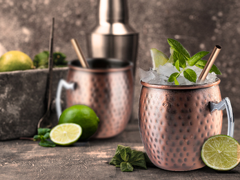 Cocktail-Set MOSCOW MULE 2x Becher, Kupfer antik inkl. Strohhalme