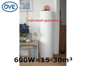 Bemalbare 600W Infrarotheizung Säulenheizung 120cm hoch, für Räume 15-30m³