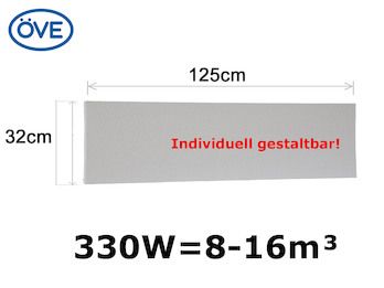 330Watt Infrarotheizung, 125x32 cm, für Räume 8-16m³, individuell bemalbar