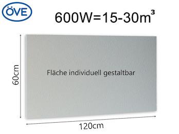 600Watt Infrarotheizung, 120x60 cm, für Räume 15-30m³, auch für Rasterdecken