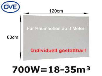 700W Infrarotheizung, 120x60 cm, Deckenmontage für Räume ab 3m Höhe
