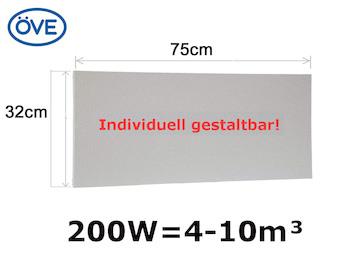 200W Infrarotheizung, 75x32cm, für Räume 4-10m³, bemalbar, IP44 - ideal fürs Bad