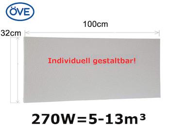 270W Infrarotheizung, 100x32cm, für Räume 5-13m³, bemalbar, IP44-ideal fürs Bad