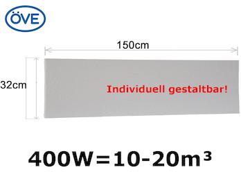 400 Watt Infrarotheizung, 150x32 cm, für Räume 10-20m³, Wand- und Deckenmontage