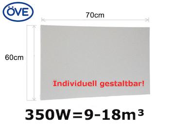 350Watt Infrarotheizung, 60x70 cm, für Räume 9-18m³, Wand- & Deckenmontage, IP44