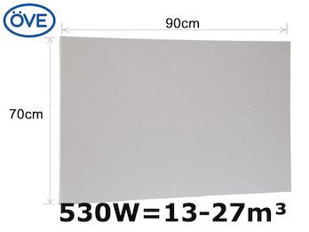 530Watt Infrarotheizung, 90x70 cm, für Räume 13-27m³, Wand- und Deckenmontage
