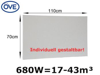 680W Infrarotheizung, 110x70 cm, für Räume 17-43m³, Wand- & Deckenmontage