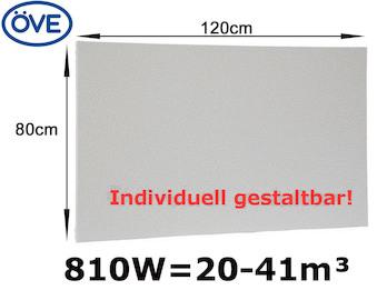 810Watt Infrarotheizung, 120x80 cm, für Räume 20-41m³, bemalbar, IP44