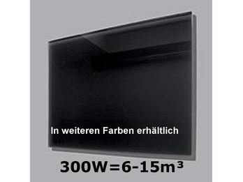 300W Glas-Heizpaneele (schwarz) mit Aktivreflektortechnik, 70x50cm, Räume 6-15m³