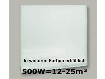 500W Glas-Heizpaneele (weiß) mit Aktivreflektortechnik, 90x60cm, Räume 12-25m³