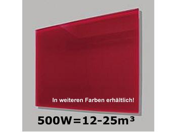 500W Glas-Heizpaneele (rot) mit Aktivreflektortechnik, 90x60cm, Räume 12-25m³