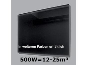 500W Glas-Heizpaneele (schwarz) m. Aktivreflektortechnik, 90x60cm, Räume 12-25m³