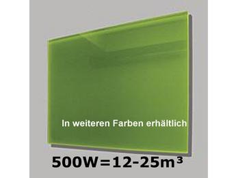 500W Glas-Heizpaneele (grün) mit Aktivreflektortechnik, 90x60cm, Räume 12-25m³