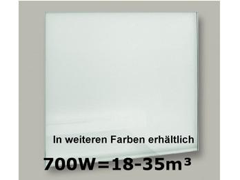 700W Glas-Heizpaneele (weiß) mit Aktivreflektortechnik, 110x60cm, Räume 18-35m³