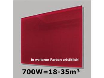 700W Glas-Heizpaneele (rot) mit Aktivreflektortechnik, 110x60cm, Räume 18-35m³