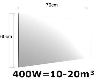 400W Spiegelheizung, Infrarotheizung fürs Bad, IPX4, 70x60cm, für Räume 10-20m³